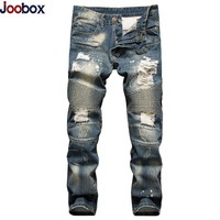 Retro Jeans homme 2017 Fashion Europe Funky Hole Patches Distressed jeans Men slim fit straight leg rock jeans hombre Size 28-42