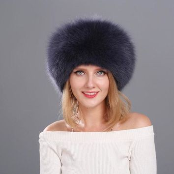 VONESC6 Natural Fox Fur Cap for Women Beanies Russian Winter Fur Hat with Tail 100% Real Fox Fur Hat Black White Silver Fox