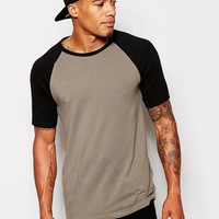 ASOS | ASOS Muscle Fit T-Shirt With Contrast Raglan Sleeves And Stretch at ASOS