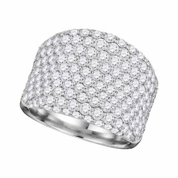 14kt White Gold Womens Round Pave-set Diamond Wide Fashion Band Ring 3-7/8 Cttw