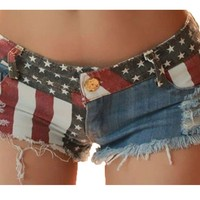 Nsstar Sexy Girls American Us Flag Mini Jeans Shorts:Amazon:Clothing