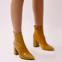 Chaos Contrast Pointed Toe Ankle Boots in Yellow Patent and Faux Suede