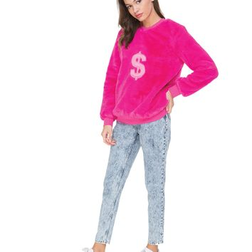 Faux Fur Dollar Sign Pullover