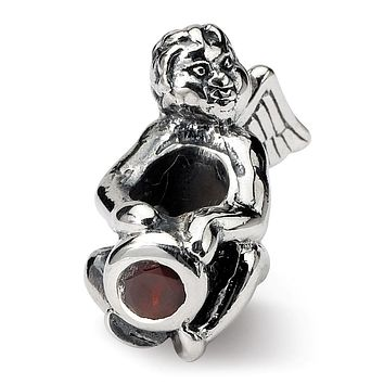 Sterling Silver January CZ Birthstone, Angel Bead Charm