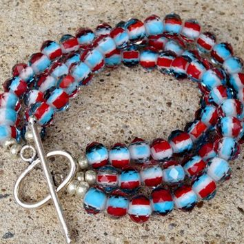 Red White and Blue Crystal Three Stranded Bracelet