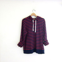 Vintage blue and red striped pullover. oversized IZOD sweatshirt. size XXL