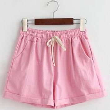 Hot Shorts 2016 Hot Summer Style Women Candy Color white Cotton Linen  Lady high waist Solid Casual loose Short Pants elastic waistAT_43_3