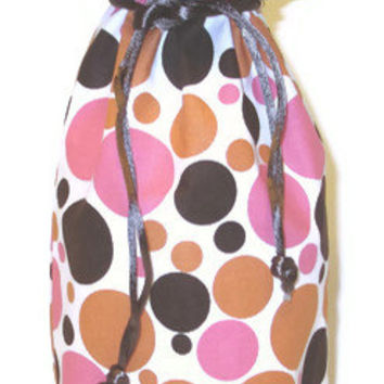 Wine Bag - Seeing Spots / Orange Pink Brown Print