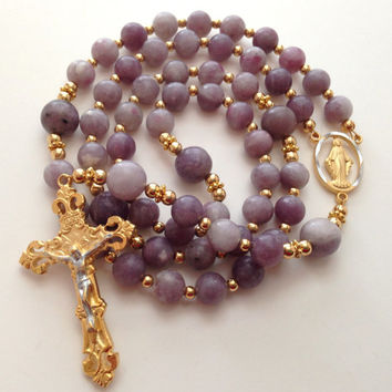Lilac Stone Rosary, Catholic Prayer Beads, Miraculous Medal of Mary, Gold Crucifix, Purple Rosary