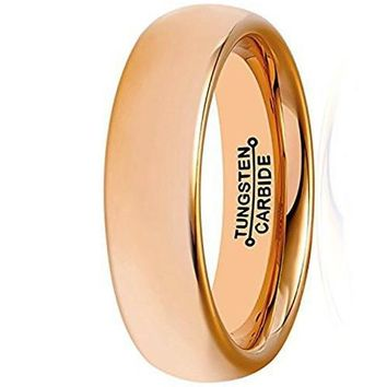 6mm Rose Gold Tungsten Wedding Band Plated Wedding Band High Polished