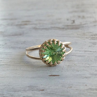 Peridot ring, Gold ring, gemstone ring, cocktail ring, stacking ring, August birthstone ring 7019