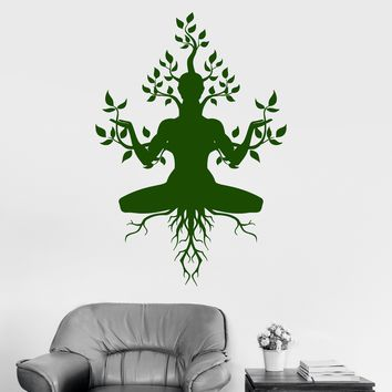 Vinyl Wall Decal Yoga Meditation Nature Tree Buddhism Nirvana Stickers Unique Gift (ig3030)