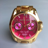MICHAEL KORS New fashion rose red dial couple watch Golden