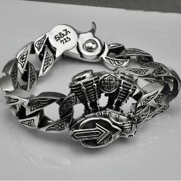 S925 Thai silver Motorcycle bracelets for cool Men jewelry punk style 925 Sterling Silver