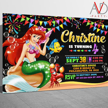 Little Mermaid  Birthday Invitation, Little Mermaid  Birthday, Little Mermaid  Invitation, Little Mermaid  Party, Little Mermaid