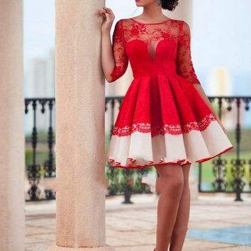 Hot Sale Red Lace Cocktail Dresses 2017 Scoop Neck Half Sleeve Above Knee Mini Formal Women Cocktail Party Dress