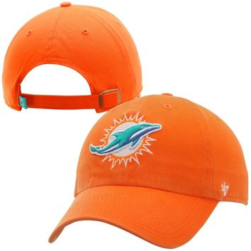 reputable site 2dee5 679ad Mens Miami Dolphins  47 Brand Orange Cleanup Adjustable Hat
