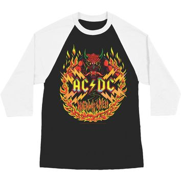 AC/DC Men's  Flames Baseball Jersey Black/White