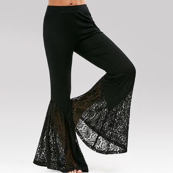 Women Fashion High Waisted Lace Insert Bell Bottom Flared Palazzo Pants
