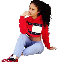 Autumn Fashion Killa Hoodie Women Crop Tops Short Tracksuit Sweatshirts Letters Printed Women Harajuku Skate Jumper Pullover