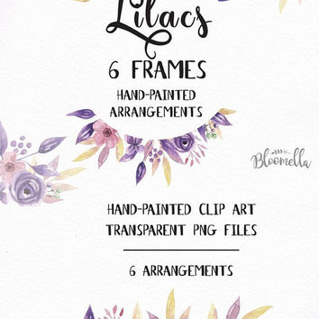 6 Watercolour Purple Leaf Flower Frames Clipart - Hand Painted Lilac Summer INSTANT DOWNLOAD PNGs Pink Pretty Garlands Leaves Digital Art