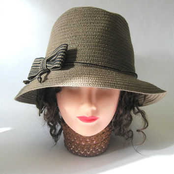 Brown Hat Taupe Cloche Millinery Womens Flapper Style