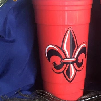 Red solo cup. Fleur De Lis, Solo Cups, Party Cup, Gifts, Cajun, Solo, Party, Personalized, Gift ideas, gift, mugs, cups, solo, gifts, party