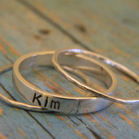 3mm Sterling Silver Custom Made Hand Stamped Personalized Mom, Mommy, Nana with 1mm Hammered Stackable Family Tree Name Ring Combo Set