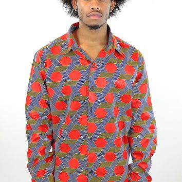 African Print Mens Shirt Button-Up Red/Navy Blue Hexagons