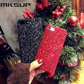 Fashion Sparkle Glitter Phone Case for iphone X 8 7 6 S 6S Plus Powder Sequins Diamond PC Hard Cover for iPhone 5 5S SE 8Plus