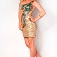 Gold Spectacular One Shoulder Sequin Peacock Cocktail Dress - Unique Vintage - Homecoming Dresses, Pinup & Prom Dresses.
