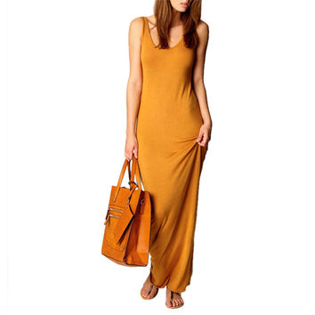 Sleeveless Scoop Neck Bodycon Maxi Dress