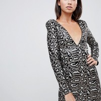 Club L sequin dress in gray leopard at asos.com
