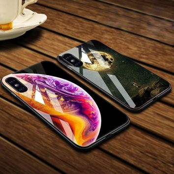 Space Galaxy Tempered Glass Case For iPhone