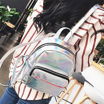 Laser Leather Backpack Women Schoolbag Back Pack Ladies