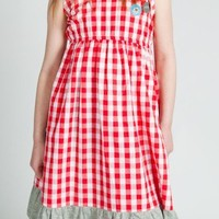Surfanic Girls Gingham Dress Marl Trim Red
