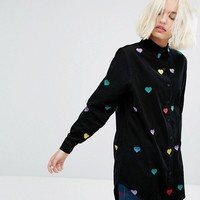 Lazy Oaf Longline Shirt With All Over Rainbow Hearts at asos.com