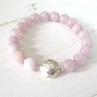 Kunzite Bracelet with Hill Tribe Silver, Pink Kunzite Beaded Bracelet, 8mm Pink Kunzite,Natural Pink Kunzite Beaded Bracelet,Kunzite Crystal