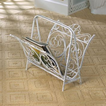Vintage White Cast Iron Magazine Rack | SAVE $40