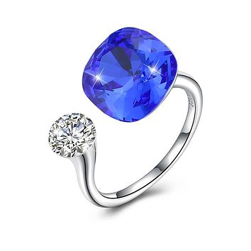 Blue Sapphire Halo Cut Adjustble White Gold Ring 925 Sterling Silver Unique Casual Rings