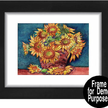 "Sunflowers Print of  Watercolor Painting As a Blank Greeting Card in two sizes or an ACEO or 5"" x 7"" or 8"" x 10""  Print"