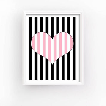 Op Art Print, Striped Hearts, Romantic Gift, Geometric Prints, Bedroom Wall Decor, Love Printable, Heart Print, Home Decor | MAGFEM ART #3