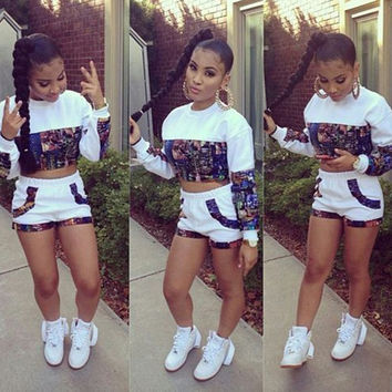 sexy female jumpsuit long sleeve print midriff crop top & shorts two piece bodycon bandage sports set = 5699012993