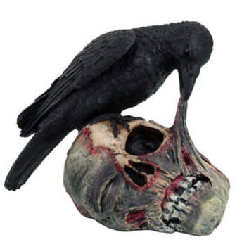 "Raven Dark Crow Eating Decayed Zombie Head Flesh Figurine Statue Halloween 5.5""H"
