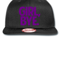 GIRL BYE EMBROIDERY hat  - New Era Flat Bill Snapback Cap