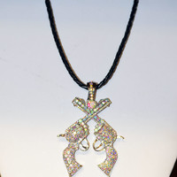 Western Crystal Cross Pistol Necklace
