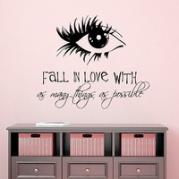 Make Up Wall Decal Quote Fall In Love With As Many Things As Possible Eye Decal Beauty Salon Vinyl Stickers Home Art Girls Room Decor M987