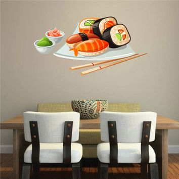 cik1055 Full Color Wall decal fish sauce sushi restaurant Japanese snack food