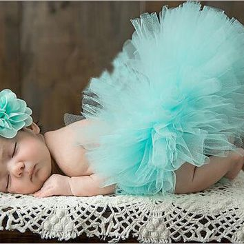 Newborn Tutu Skirt With Matching Flower Headband