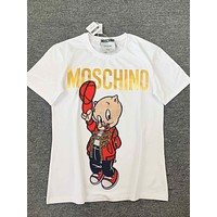 MOSCHINO Hot Sale Women Men Loose Print Pig Embroidery T-Shirt Top Blouse White